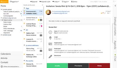 EmClient, dettagli dei contatti: inviti, programmi, orari, chat