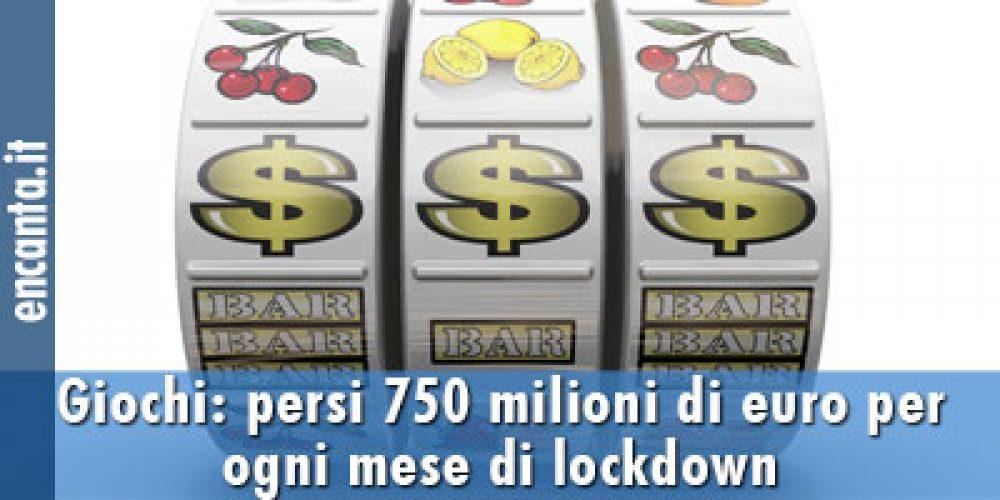 Giochi: persi 750 milioni di euro per ogni mese di lockdown