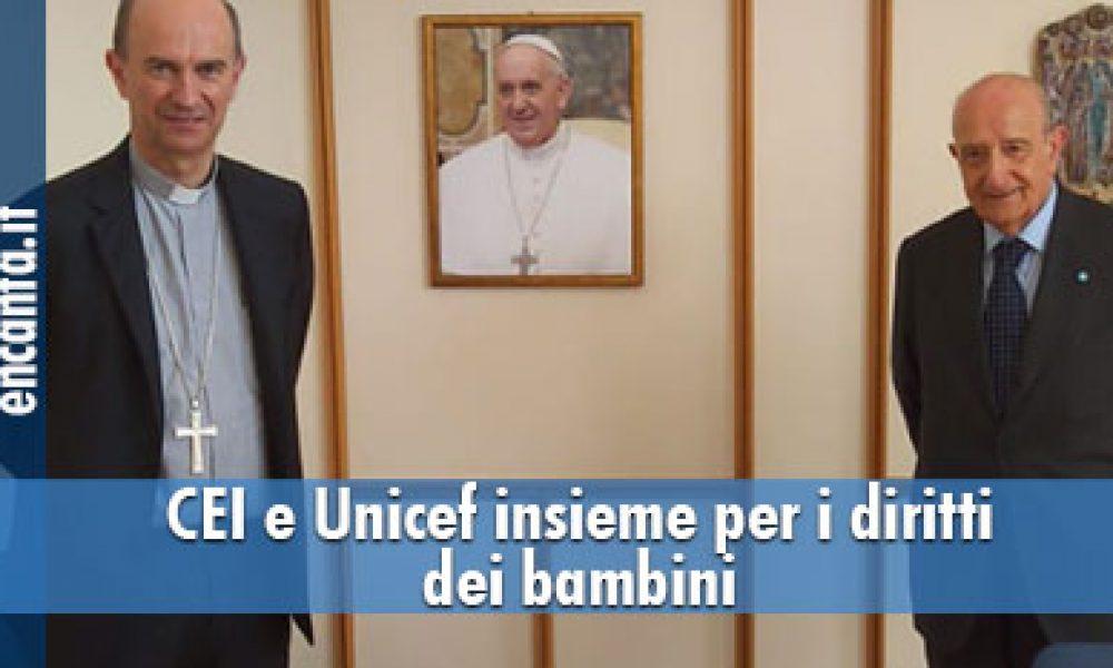 Nella foto per la firma del Protocollo: da sinistra il Segretario generale della CEI, S.E. Mons. Stefano Russo e il Presidente dell'UNICEF Italia, Francesco Samengo.