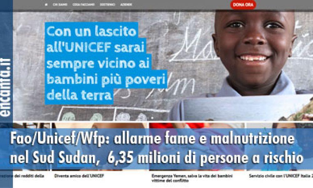 Fao/Unicef/Wfp: allarme fame e malnutrizione  nel Sud Sudan,  6,35 milioni di persone a rischio