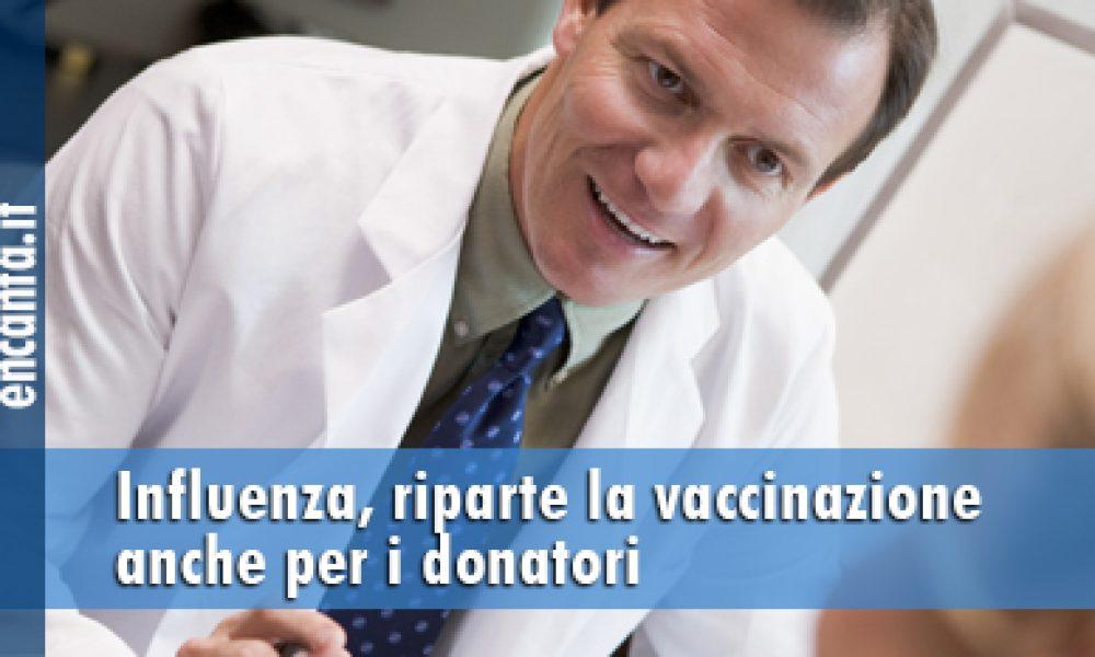 Influenza, riparte la vaccinazione anche per i donatori