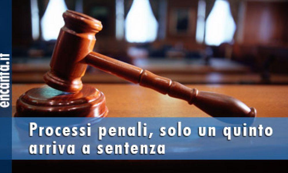 Processi penali, solo un quinto arriva a sentenza