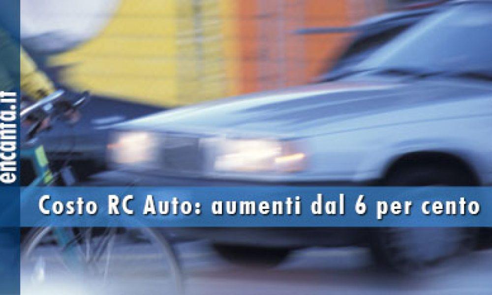 Costo RC Auto: aumenti dal 6 per cento