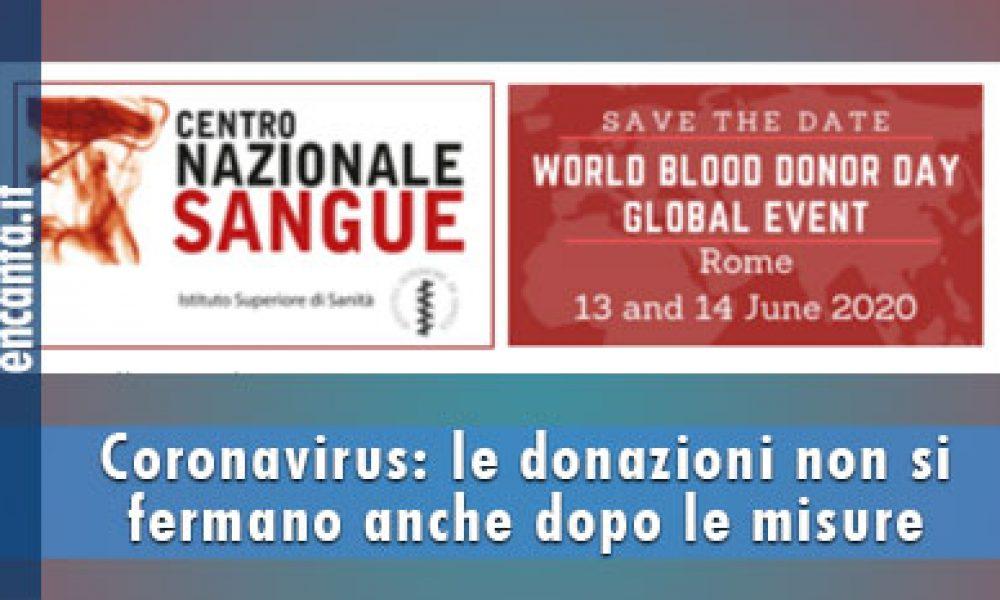 Coronavirus: le donazioni non si fermano anche dopo le misure