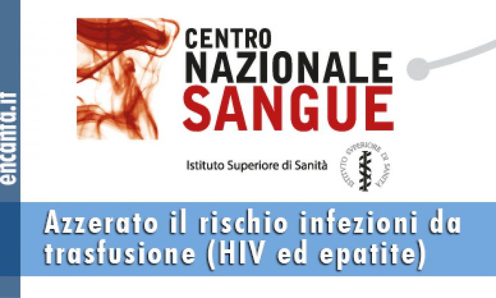 Azzerato il rischio infezioni da trasfusione (HIV ed epatite)